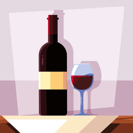 wine bottle with wineglass, national wine day vector illustration design
