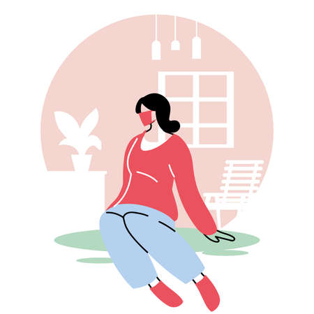 woman with mask staying at home and exercising vector illustration design