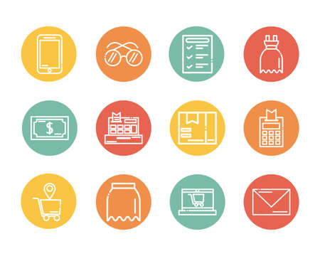 set of icons shopping block and flat style icon vector illustration design