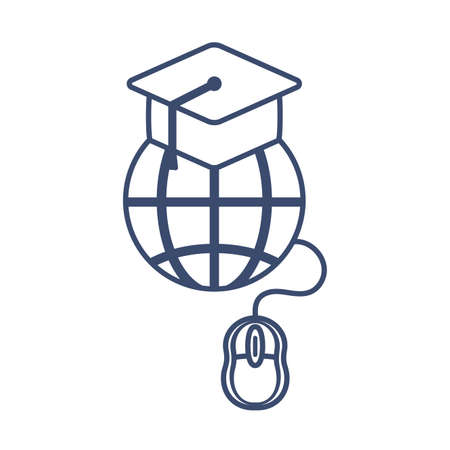 symbol global education with graduation cap, line style icon vector illustration design 向量圖像