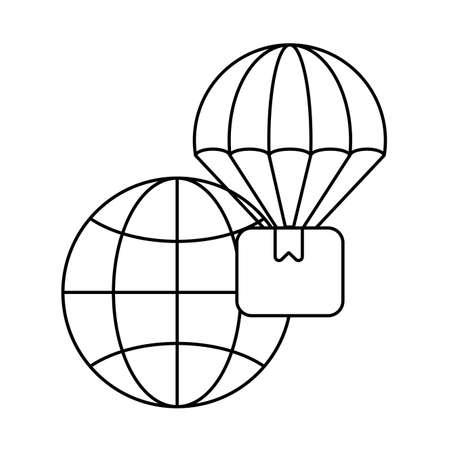 global market with cardboard box , line style icon vector illustration design Ilustração