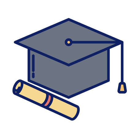 graduation cap and diploma, line and fill style icon vector illustration design Vectores