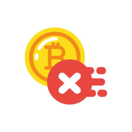 Bitcoin and forbidden button design of Cryptocurrency money currency exchange financial bank web internet market electronic finance and net theme Vector illustration