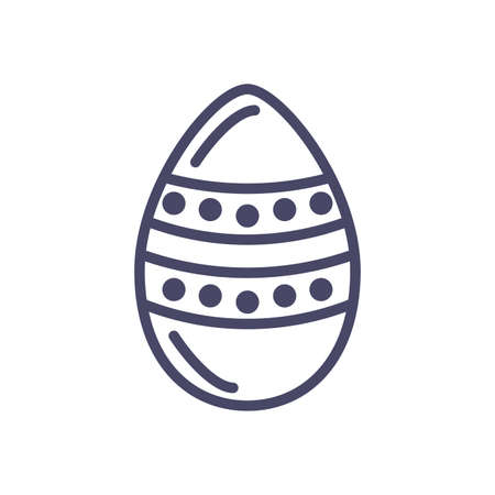 striped easter egg over white background, line style icon, vector illustration Vettoriali