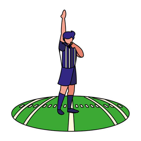 american football referee with his hand up on stadium grass vector illustration design