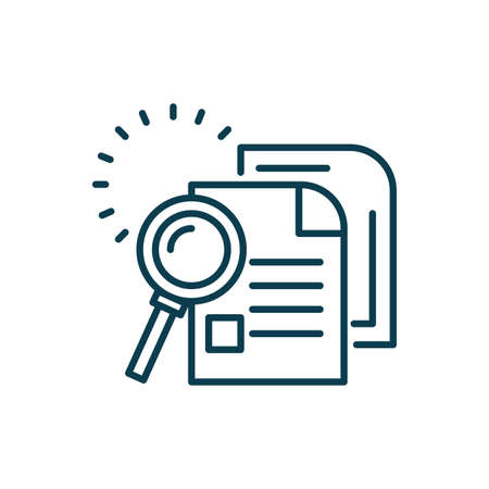 magnifying glass and document pages icon over white background, line style, vector illustration Vectores