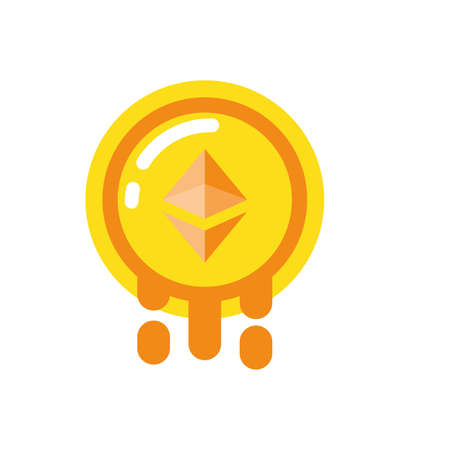 Ethereum coin design of Cryptocurrency money currency exchange financial bank web internet market electronic finance and net theme Vector illustration Illustration