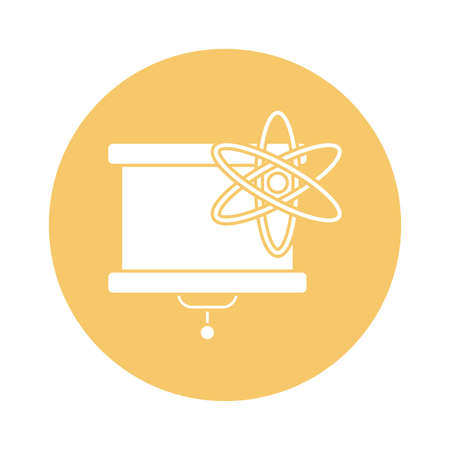 Atom and board block style icon design, science chemistry and molecular theme Vector illustration