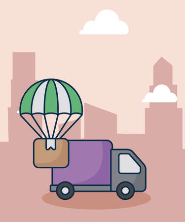 cargo transport truck with the background city vector illustration design