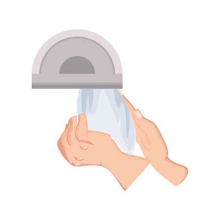 hand drying with heat machine on white background vector illustration design