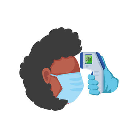 temperature test with infrared thermometer on white background vector illustration design