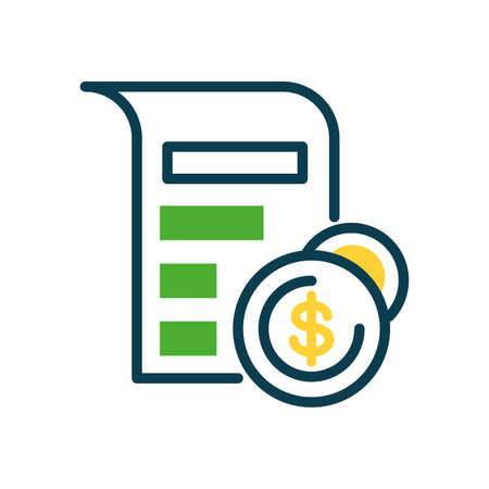 document pages and money coins icon over white background, half color style, vector illustration