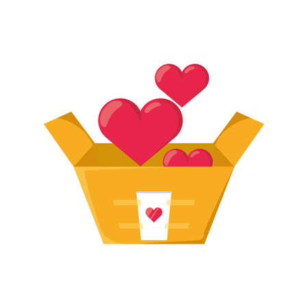 donation box with heart on white background vector illustration design