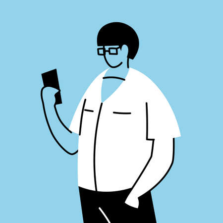 young man standing holding smartphone vector illustration design