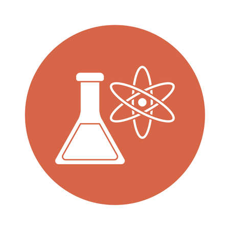 Atom and flask block style icon design, science chemistry and molecular theme Vector illustration