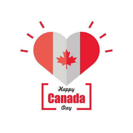 happy canada day, Canadian flag with heart decoration vector illustration design
