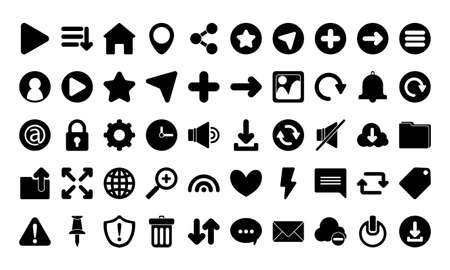 silhouette style icon set design, Social media web multimedia and communication theme Vector illustration Ilustração