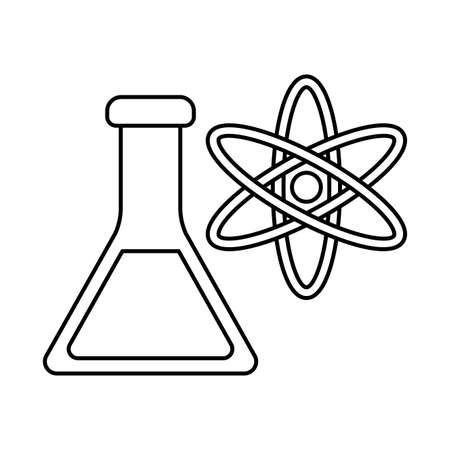 Atom and flask line style icon design, science chemistry and molecular theme Vector illustration