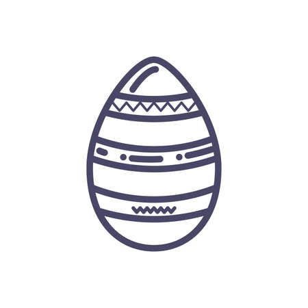 striped easter egg icon over white background, line style, vector illustration