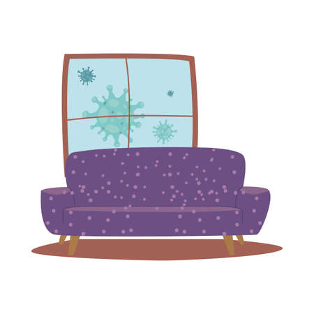 furniture and decoration items at home vector illustration design