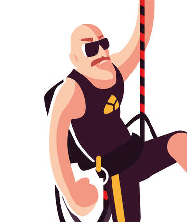 strong man climbing up the rope vector illustration desing