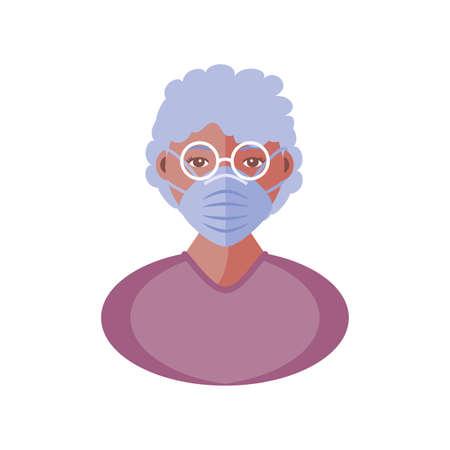 elderly woman with face mask, coronavirus prevention vector illustration design