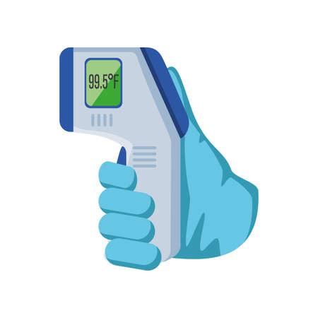 Infrared non contact temperature thermometer gun in hand on white background vector illustration design