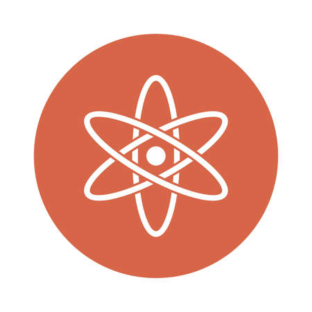 Atom block style icon design, science chemistry and molecular theme Vector illustration