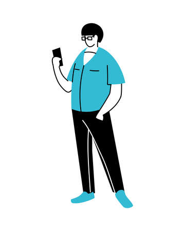 young man using an electronic device vector illustration design Foto de archivo - 150124278