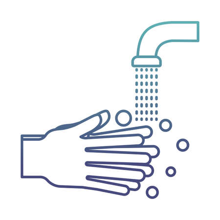 Hands washing under water tap degraded line style icon design, Hygiene wash health and clean theme Vector illustration