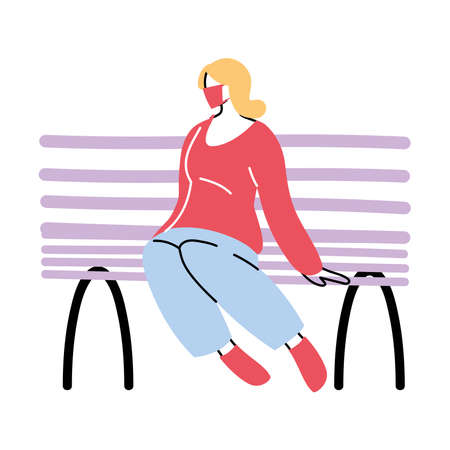 woman in park sitting with mask on vector illustration design