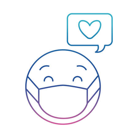 emoticon with mask and heart bubble degraded line style icon design of medical care and covid 19 virus theme Vector illustration