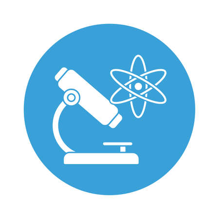 Atom and microscope block style icon design, science chemistry and molecular theme Vector illustration