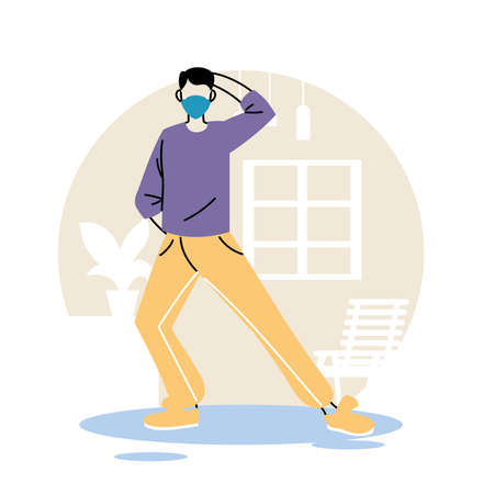 man with mask staying at home and exercising vector illustration desing