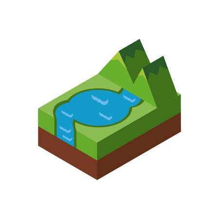 Isometric mountain and lake design, Nature element earth eco ecology conservation bio environment and outdoor theme Vector illustration Ilustracja