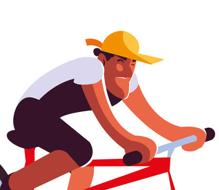 young man with mask riding bicycle vector illustration design