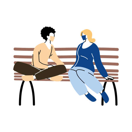 women in park sitting with mask on vector illustration desing