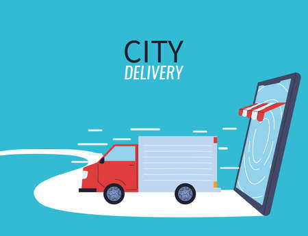delivery of courier by virtual stores vector illustration desing