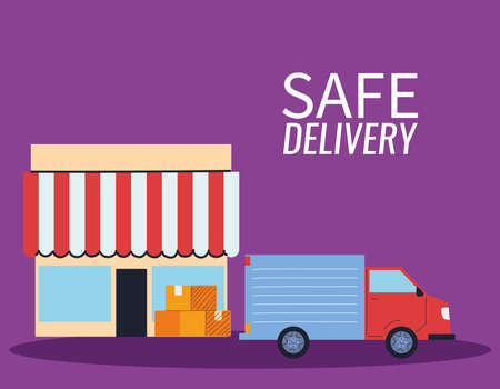 virtual store with courier delivery vector illustration desing