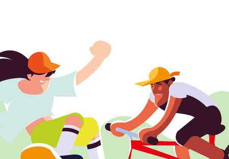 young men practicing bicycle and skateboard sport vector illustration desing