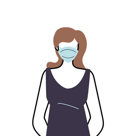 young woman wearing face mask to prevent virus vector illustration design