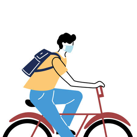 young man with mask riding bicycle vector illustration desing
