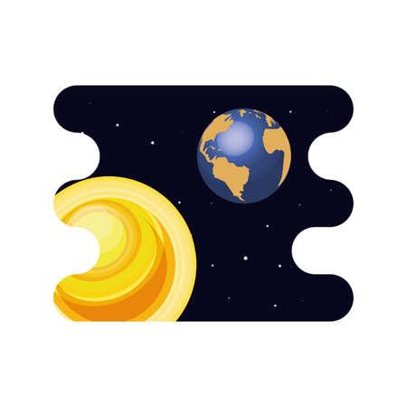 earth planet with sun scene space vector illustration design