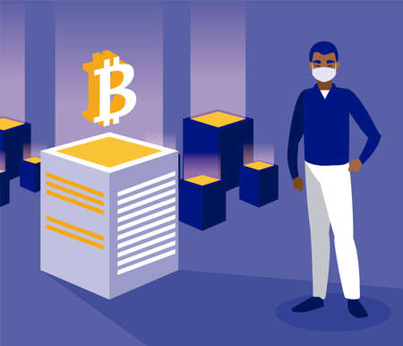 Man with mask and bitcoins boxes of Crypt mining bit money currency and financial theme Vector illustration