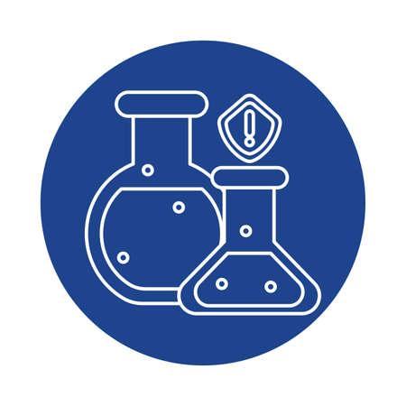 chemical laboratory test tubes, line block style icon vector illustration design Banco de Imagens - 150138304