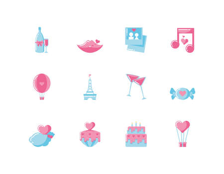 Icon set design of Love valentines day wedding passion romantic decoration and marriage theme Vector illustration 스톡 콘텐츠 - 150139432