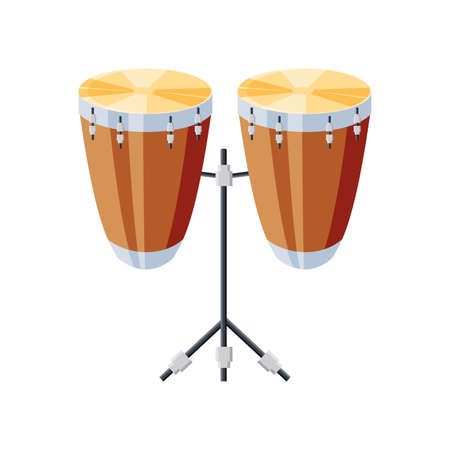 congas drums with tripod on white background vector illustration design