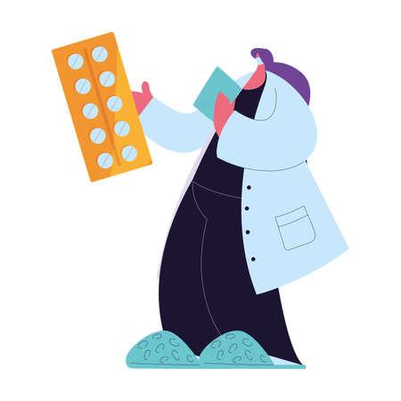 Female doctor in medical uniform with mask and medicine kit vector illustration design