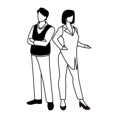 business couple standing on white background vector illustration design 일러스트