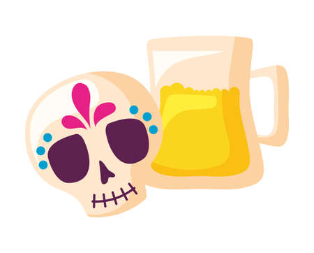 skull mexican with jar beer isolated icon vector illustration design 向量圖像